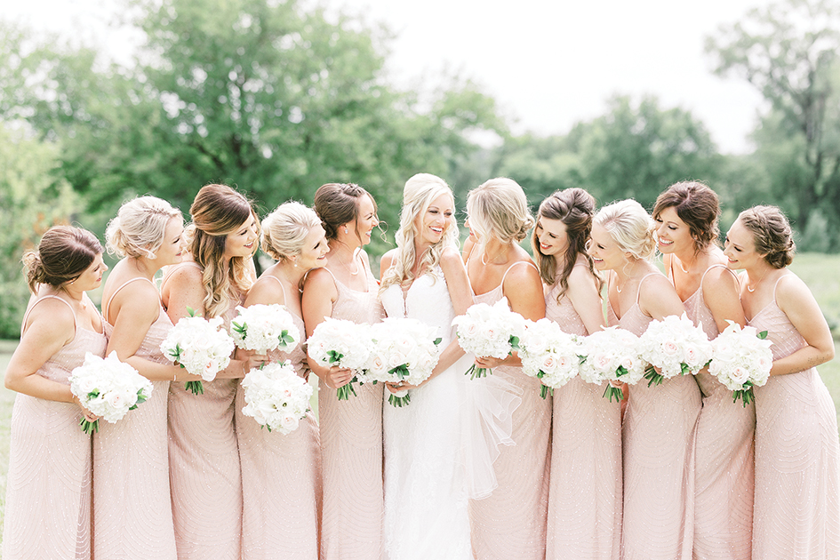 blush, bridesmaid dresses, wedding pictures, bride squad